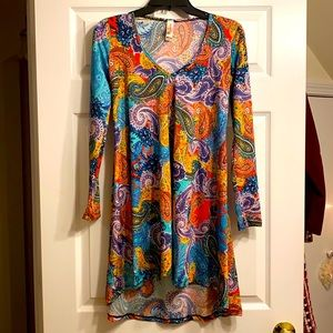 Paisley Retro V-Neck Hi-Lo Long Sleeve Tunic Dress